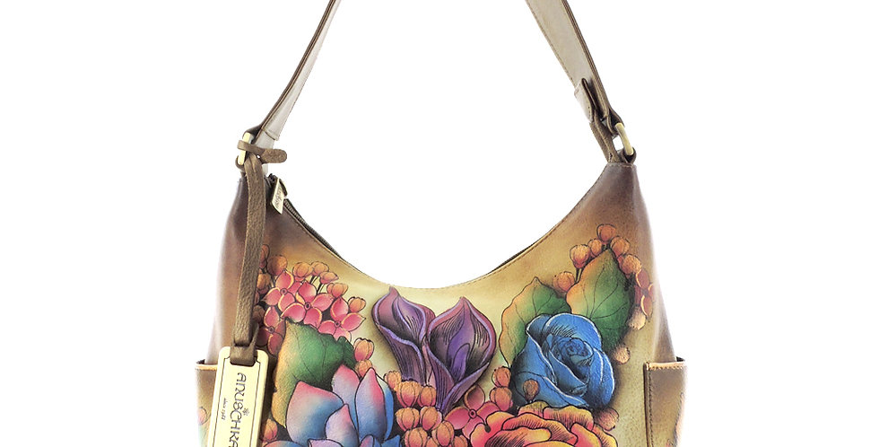 """Lush Lilac"" Bronze Classic Hobo with Side Pockets"