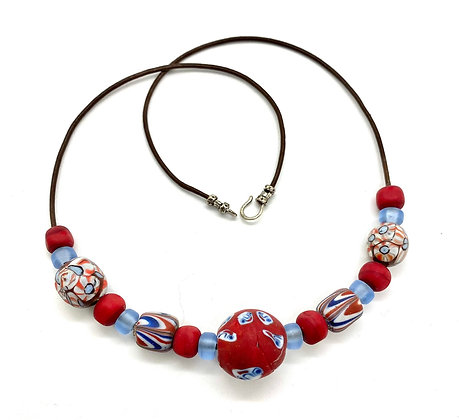 African Recycled Glass Bead Necklace