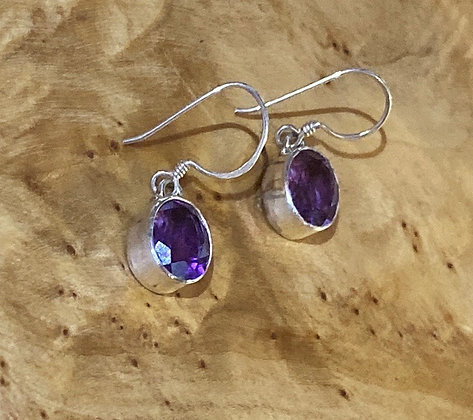 Amethyst & Sterling Silver Dangles