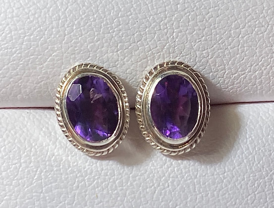 Oval 6x8mm Faceted Amethyst and Sterling Silver Studs