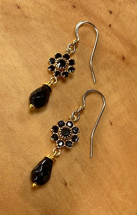 Swarovski and Onyx Earrings  with 14k gf Accents