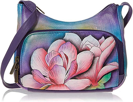 Magnolia Melody Compact Crossbody with Front-Zip Organizer, by Anuschka