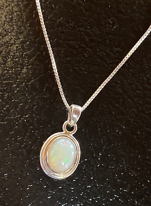 Opal (8x10mm) and Sterling Silver Bezel Set Pendant