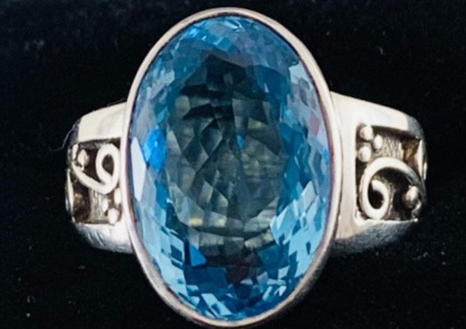 Faceted Blue Topaz Oval and Sterling Silver Statement Ring