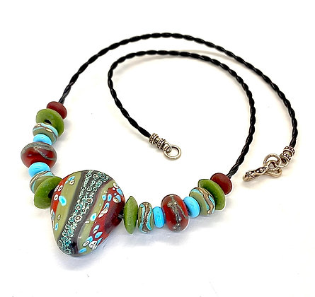 Olive and Burgundy Lampwork Necklace