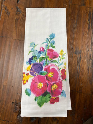 Hollyhocks - Original Art Dishtowel