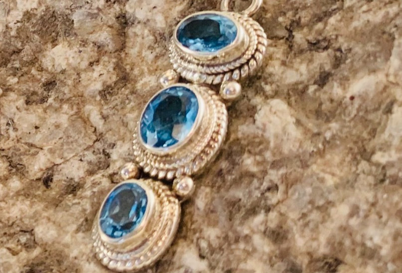 Triple Oval Blue Topaz and Sterling Silver Pendant