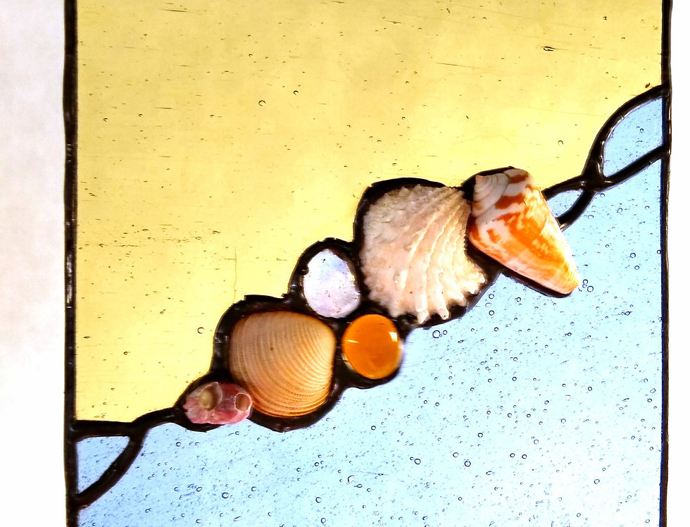 """""""Sentimental"""" Sea Shell Stained Glass Panel (small)"""