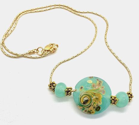 Aqua Lampwork with Hamilton Gold Necklace