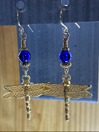 Dragonfly Dangles with Cobalt Glass