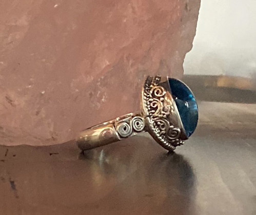 Blue Topaz Cabochon and Sterling Silver Ring