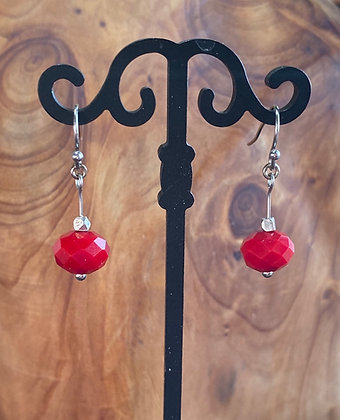 Czechoslovakian Glass, Red Dangles with Surgical Steel