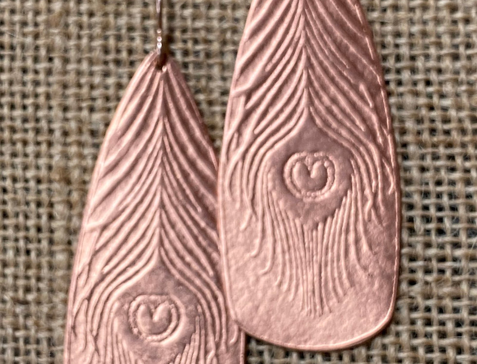Hand-rolled Copper Peacock Feather Earrings