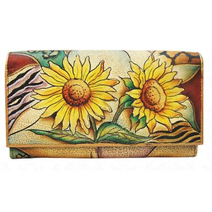 Sunflower Wallet - Multi-Pocket clutch, by Anuschka