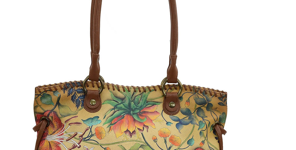 Caribbean Garden Double-Handle Large Tote with Magnetic Closure, by Anuschka