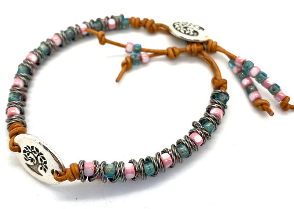 Pewter Bird-in-Tree Bracelet with Pink & Teal Beading