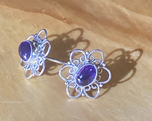 Amethyst and Sterling Silver Lace Studs