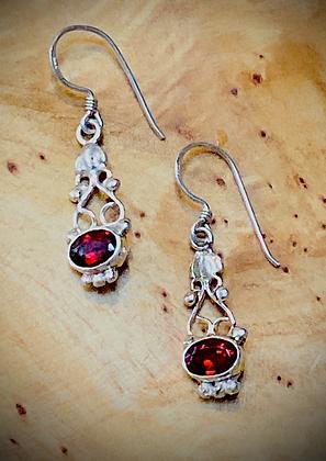 Fancy Facets, Oval Garnet Earrings