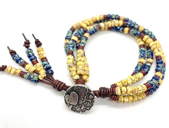 4-Strand Leather Picasso Beaded Bracelet
