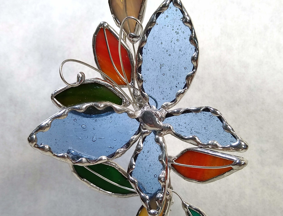 Blue Butterfly Stained Glass Spray