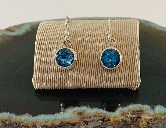 Blue Topaz Round Brilliant Cut and Sterling Earrings