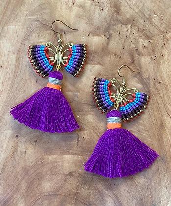 Purple Butterfly (mov petaloúda)  - Handwoven Greek Earrings