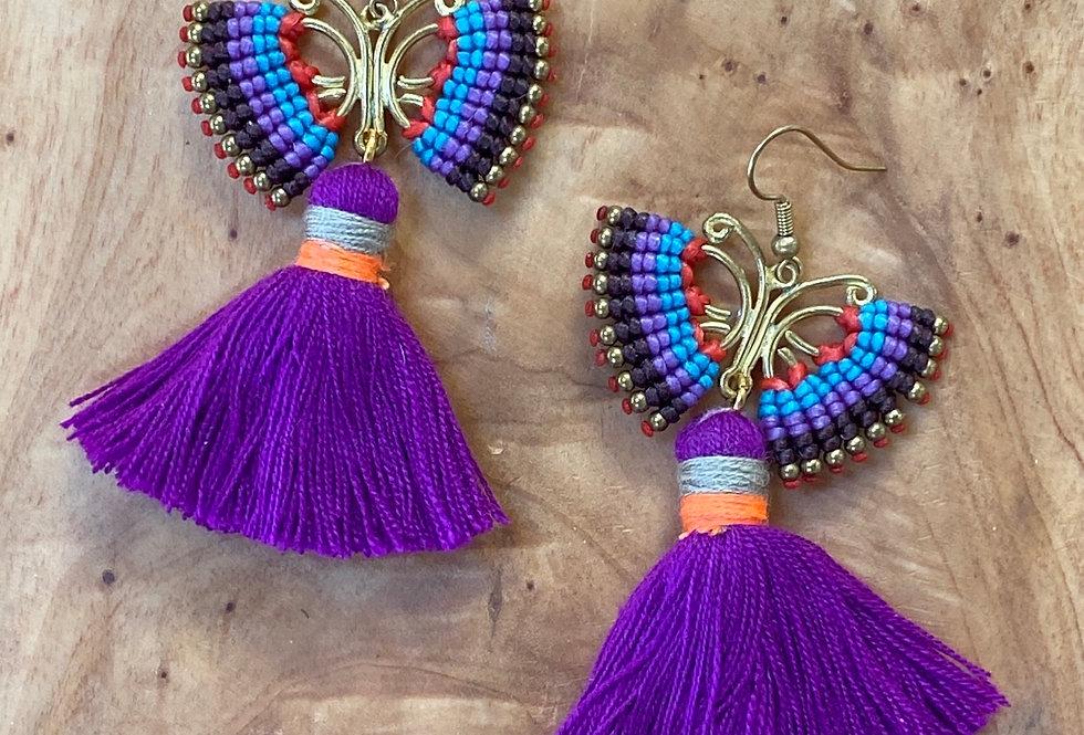 Purple Butterfly (mov petaloúda)  - Handmade Greek Earrings