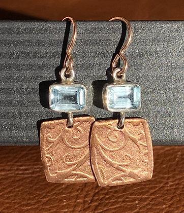 Ann Mooney Design Hand-Rolled Copper & Blue Topaz Dangles 14k rgf Wires