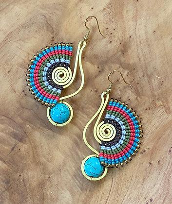 Peacock & Pebble - Handwoven Greek Earrings
