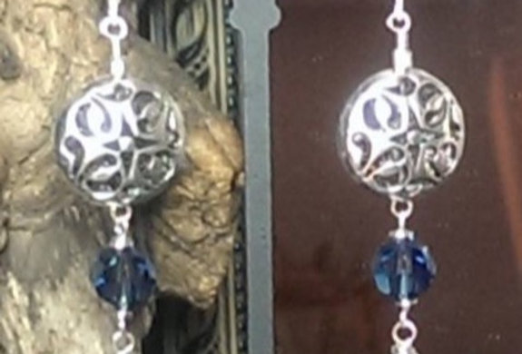 Sterling  Silver Sworavski and Onxy Dangle Earrings