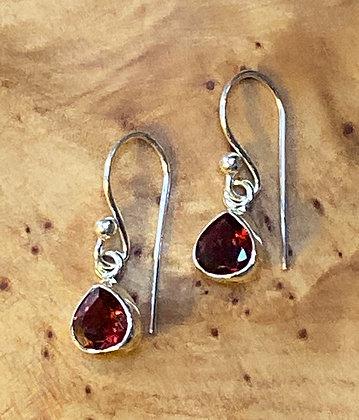 Pear Shaped Garnet Drop Earrings, 4x5mm