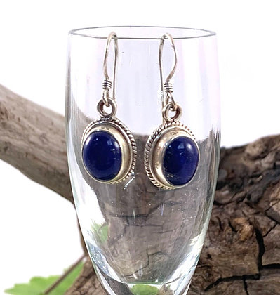 Lapis & Sterling Silver Dangles, Roped Setting