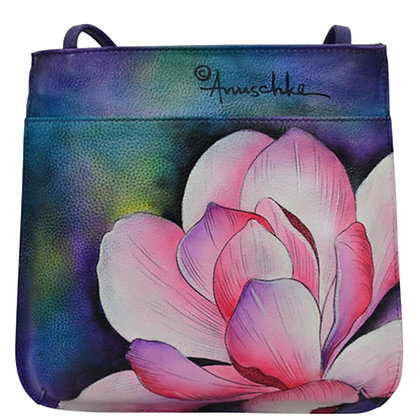 Magnolia Melody Slim Crossbody with front zip, by Anuschka