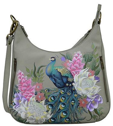 *Regal Peacock Convertible Slim Hobo With Crossbody Strap, by Anuschka