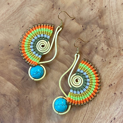 Pebble & Tailfeathers - Handwoven Greek Earrings