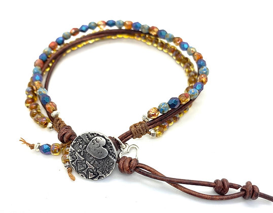 4-Strand Leather Bracelet with Multi-Color Beading