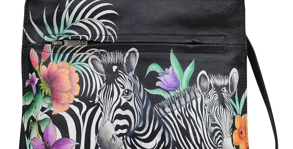 Playful Zebras Slim Crossbody with front zip by Anuschka