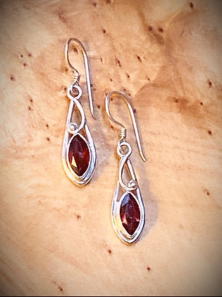 Marquise Faceted Garnet Earrings