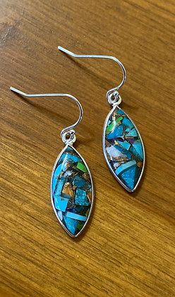 Sterling Silver and Turquoise Composite Earrings