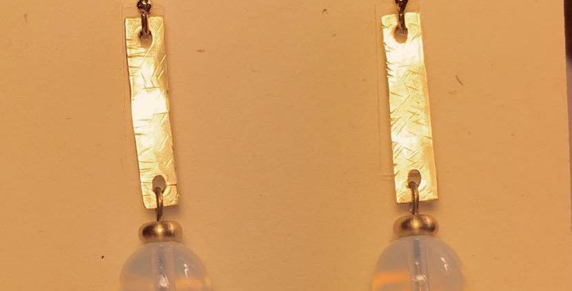 Brass & Opalite Earrings
