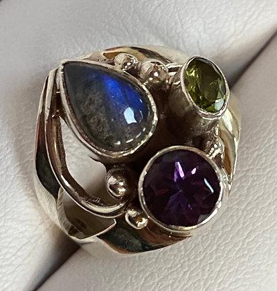 Labradorite, Peridot and Amethyst Sterling Silver Ring