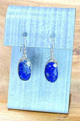Sterling Silver and Faceted Lapis Earrings