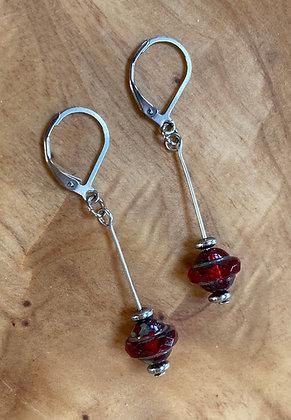 Czechoslovakian Glass Long Drop Earrings