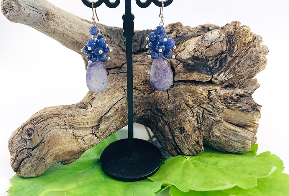 Sapphire Orbs & Sterling Silver Dangles