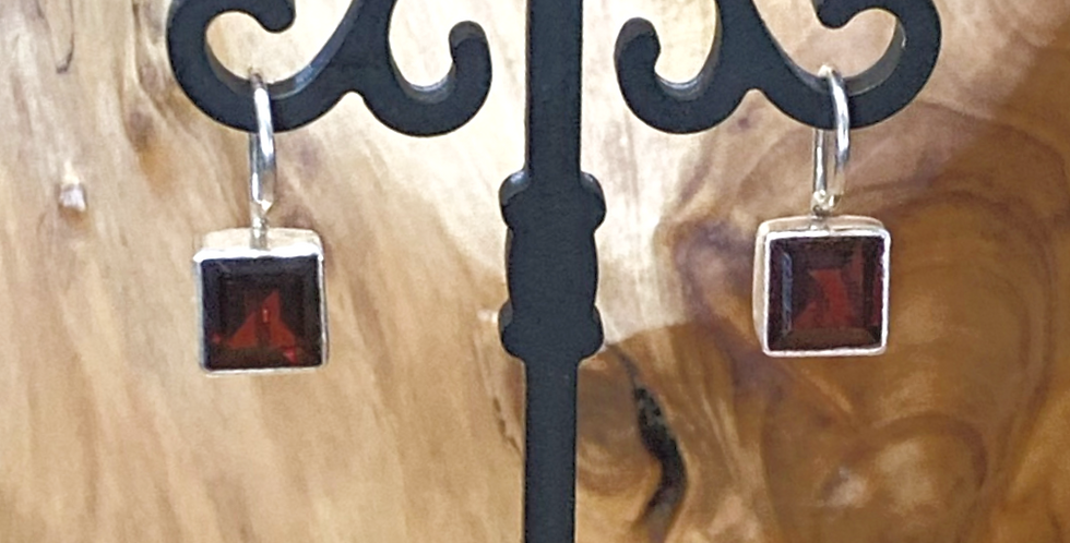 8mm Square Bezel Set Garnet Earrings With Locking Back