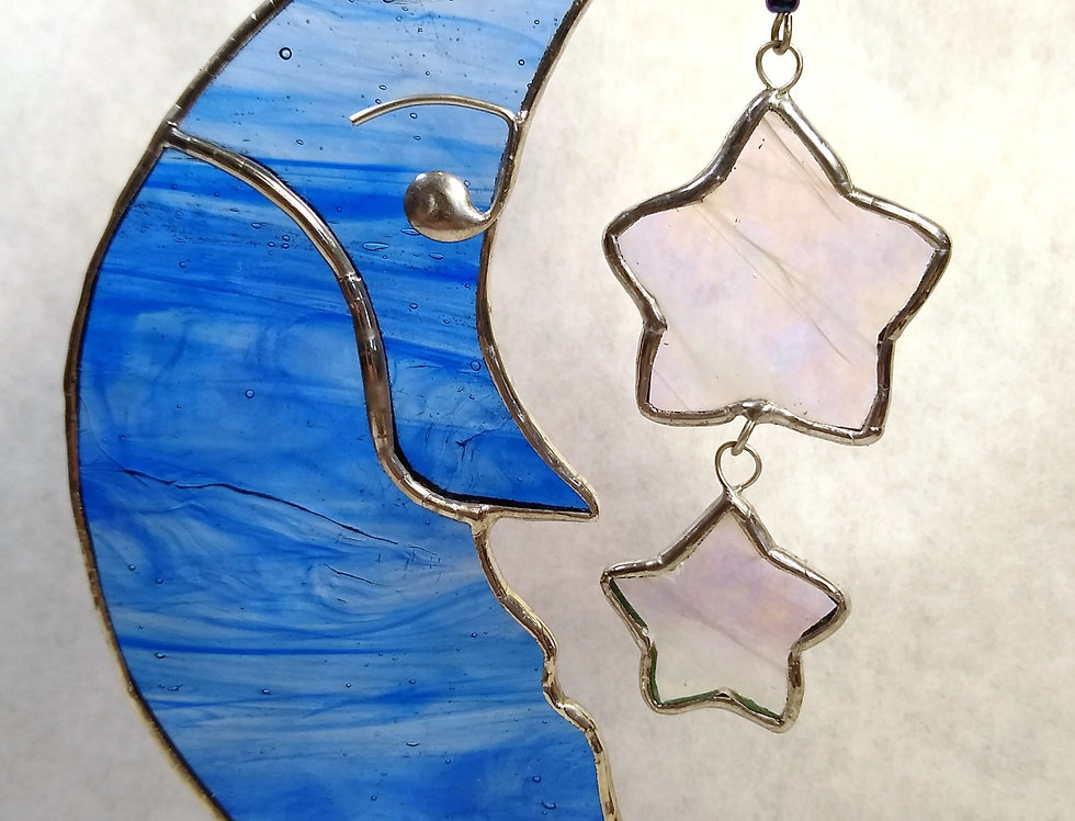 The Man in the Moon, stained glass suncatcher