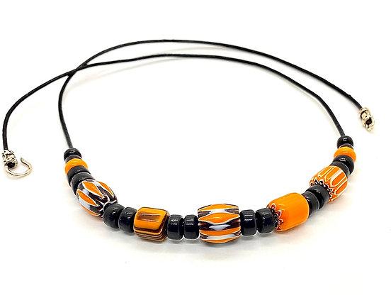 African Chevron Barrel Bead Necklace