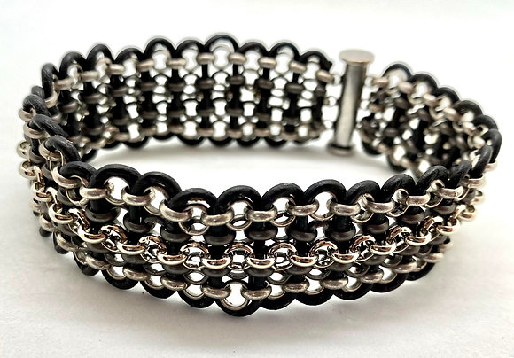 Silver & Antique Silver Plate Bracelet with Black Leather