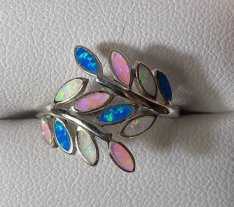 Cultured Opal Inlay Flora Ring