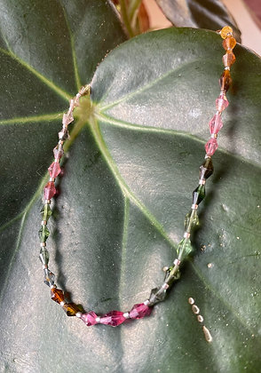 "Rainbow Tourmaline and Sterling Silver Necklace 17"" - 20"""